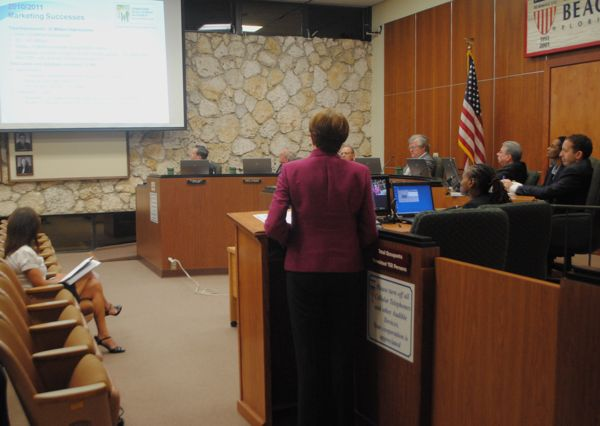 Executive Director Marjorie Ferrer of the Downtown Development Authority gives Delray Beach city commissioners an update on the accomplishments and goals of the DDA Tuesday evening.