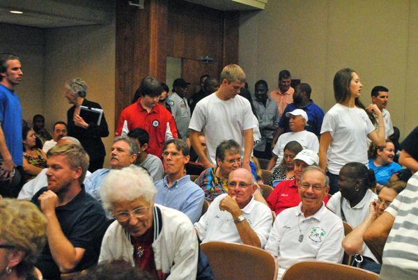 The audience at Tuesday's Delray Beach city commission meeting filing in. Most were city employees and most voiced support for the fire service fee.
