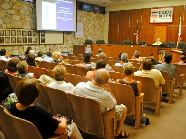 About 60 or so residents and business people attended Tuesday's meeting concerning Delray's proposed South Federal Highway Redevelopment Plan. Senior Planner Ron Hoggard, at the dias, presented the plan and answered questions.