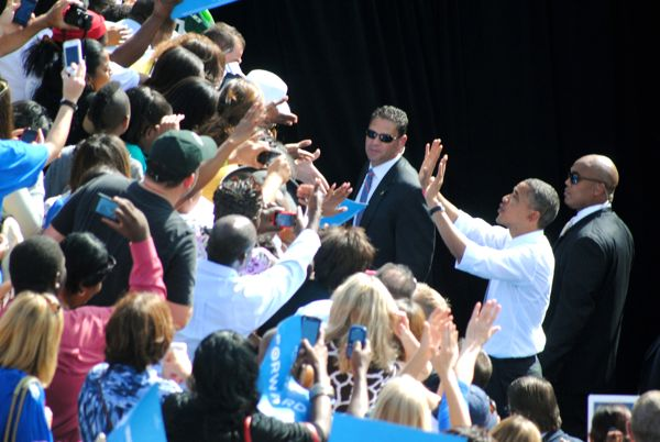President Barack Obama works the crowd after Tuesday morning's rally at the Delray Beach Tennis Center.
