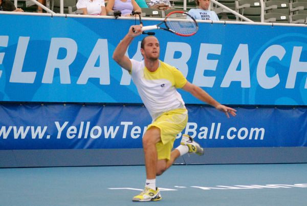 Xavier Malisse in his opening match Monday against Alejandro Falla at the Delray Beach International Tennis Championships.